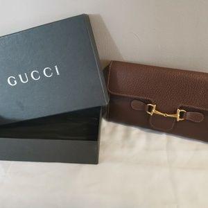 Gucci Long Wallet Horsebit 100% Authentic